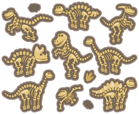 Collection of Dinosaur Bones Stock Illustratie