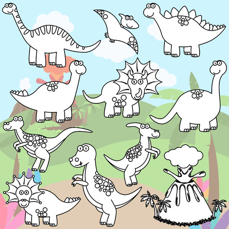 mesozoic: Coloring Page of Line Art Dinosaurs and a Volcano