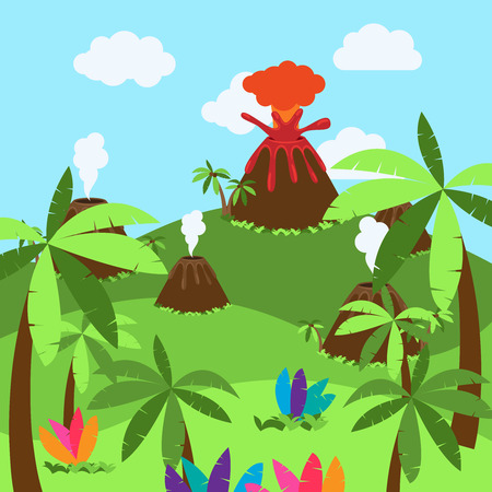 Cute Cartoon Background of Desert, Jungle or Dinosaur Era Landscape