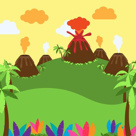 砂漠、ジャングルや恐竜時代風景のかわいい漫画背景  イラスト・ベクター素材