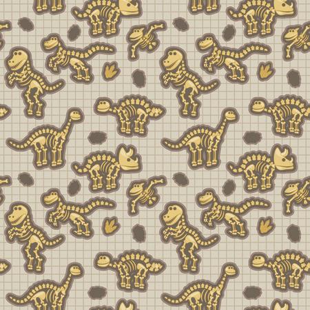 Seamless, Tileable Pattern with Dinosaur Bones and Fossils Illusztráció