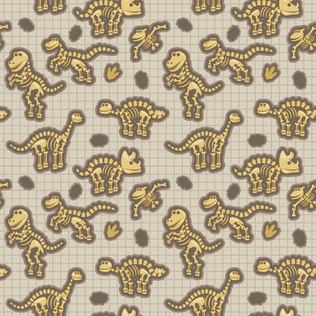 Seamless, Tileable Pattern with Dinosaur Bones and Fossils Illustration