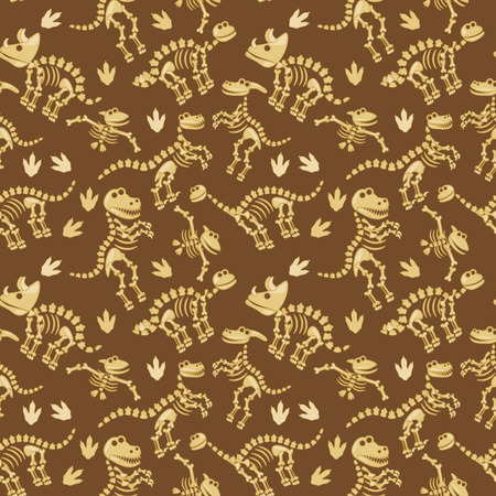 Seamless, Tileable Pattern with Dinosaur Bones and Fossils Ilustrace
