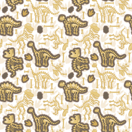 archaeologist: Seamless, Tileable Pattern with Dinosaur Bones and Fossils Illustration