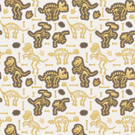 archaeological: Seamless, Tileable Pattern with Dinosaur Bones and Fossils Illustration