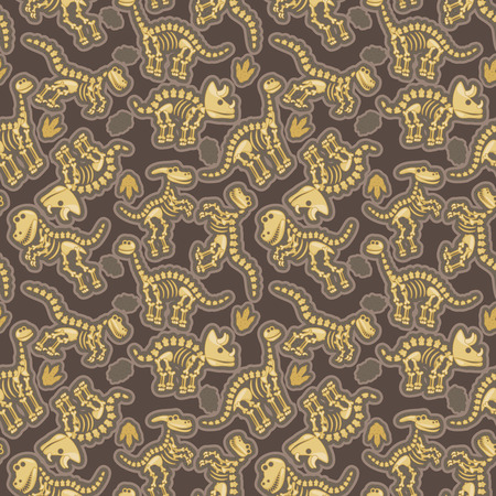 Seamless, Tileable Pattern with Dinosaur Bones and Fossils Vectores