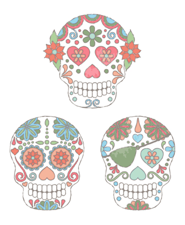 Set of Watercolor Style Day of the Dead Skulls or Sugar Skulls