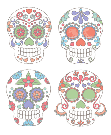 ancestry: Set of Watercolor Style Day of the Dead Skulls or Sugar Skulls