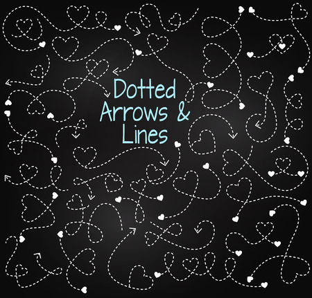 squiggly: Set of Chalkboard Dotted Arrows and Connecting Lines with Hearts