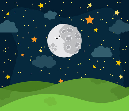 early in the evening: Cute Vector Nighttime Landscape with Rolling Hills, Stars and Clouds Illustration