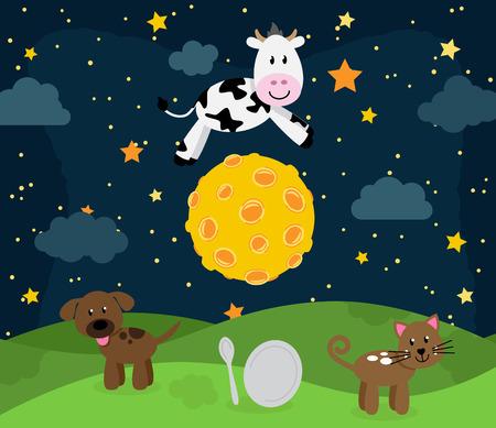 Hey Diddle Diddle Kinderlieder Landschaft mit Kuh-Springen über den Mond Vektorgrafik