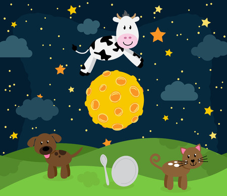 Hey Diddle Diddle Nursery Rhyme Landschap met Koe die over de maan Vector Illustratie