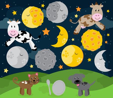 Hey Diddle Diddle Kinderlieder Landschaft mit Kuh-Springen über den Mond