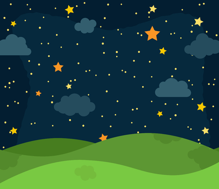 Cute Vector Nighttime Landscape with Rolling Hills, Stars and Clouds Stock Illustratie