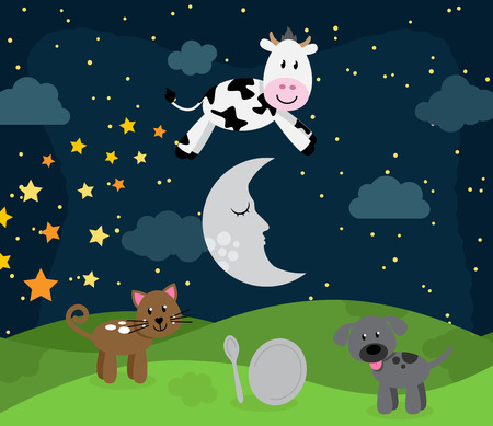 story time: Hey Diddle Diddle Nursery Rhyme Landscape with Cow Jumping Over the Moon Illustration