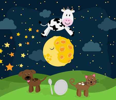 Hey Diddle Diddle Nursery Rhyme Landscape with Cow Jumping Over the Moon Illustration