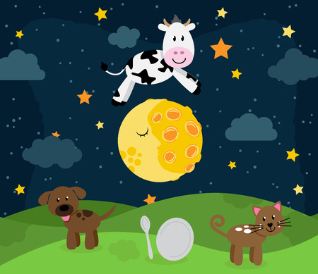 Hey Diddle Diddle Nursery Rhyme Landscape with Cow Jumping Over the Moon Vettoriali