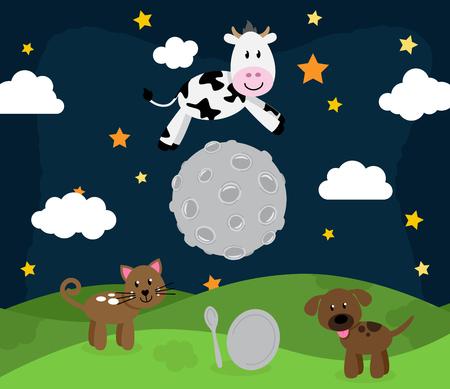 Hey Diddle Diddle Nursery Rhyme Landschap met Koe die over de maan