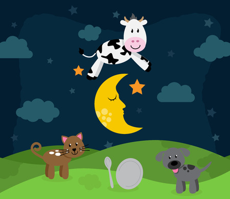 rhyme: Hey Diddle Diddle Nursery Rhyme Landscape with Cow Jumping Over the Moon Illustration