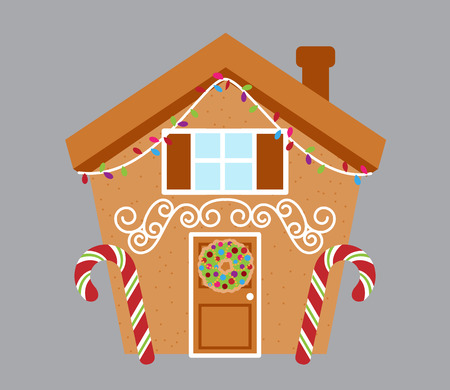 Cute Isolated Gingerbread House Vector with Holiday Lights