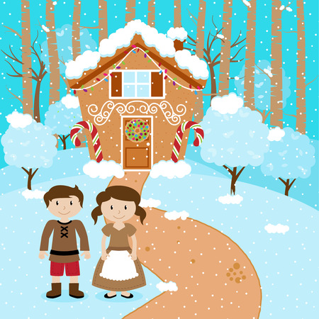 fairytale: Vector Set of Hansel and Gretel, Children or Husband and Wife in front of Fairytale Gingerbread House
