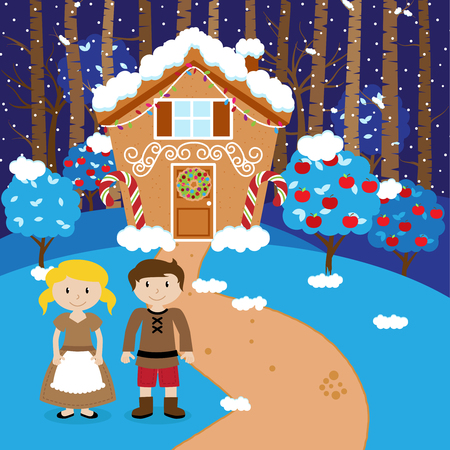 Vector Set of Hansel and Gretel, Children or Husband and Wife in front of Fairytale Gingerbread House
