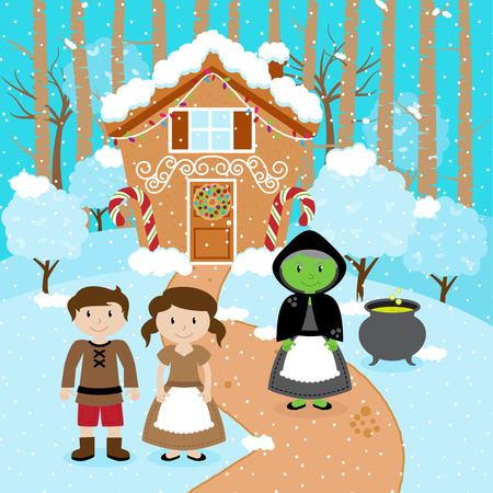 storybook: Fairy Tale Vector Scene with Hansel and Gretel, the Witch, and a Holiday Gingerbread House