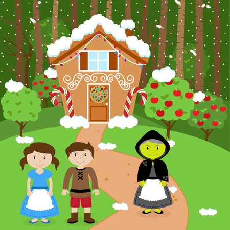 storybook: Fairytale Vector Background with Hansel and Gretel, the Witch and Her Gingerbread House in a Forest