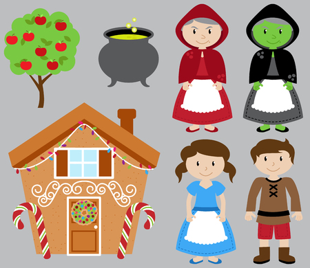 scary man: Hansel and Gretel Vector Collection with Witch and Gingerbread House