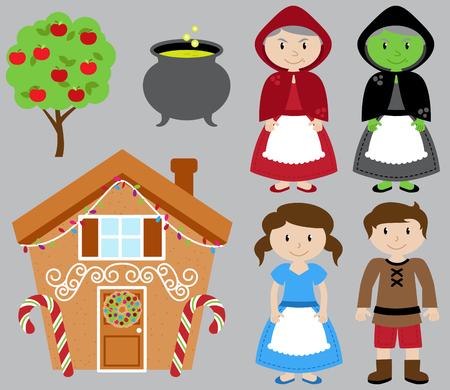 Hansel en Gretel Vector Collectie met Heks en Gingerbread House Stock Illustratie