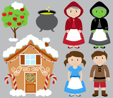 storybook: Hansel and Gretel Vector Collection with Witch and Gingerbread House
