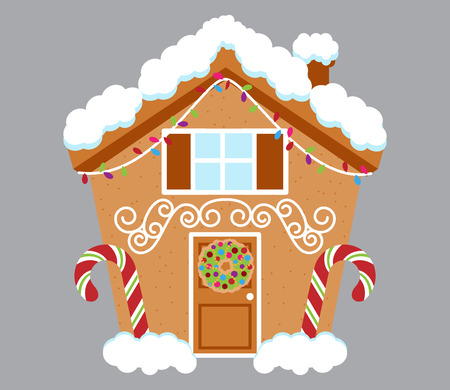 Cute Gingerbread House Covered in Snow and Decorated with Candy and Icing Vettoriali