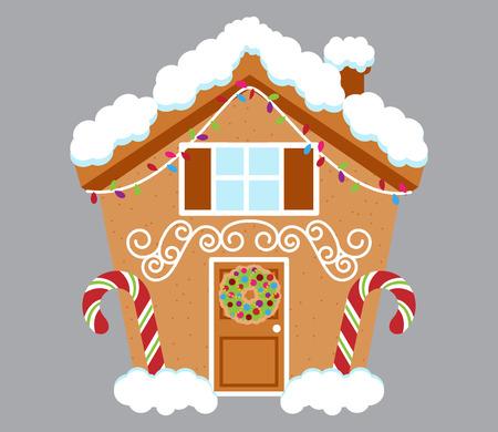 Cute Gingerbread House bedekt met sneeuw en versierd met Candy en Icing Stock Illustratie