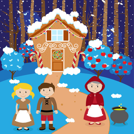 Fairy Tale Vector Scene with Hansel and Gretel, the Witch, and a Holiday Gingerbread House