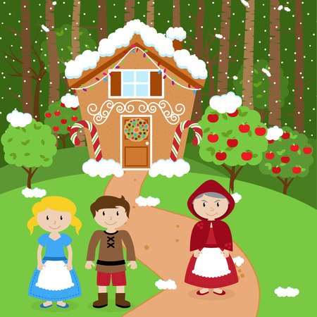 Fairytale Vector Background with Hansel and Gretel, the Witch and Her Gingerbread House in a Forest