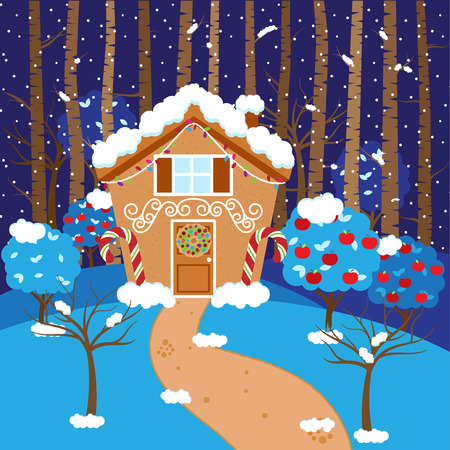 Cute Vector Background with Holiday Gingerbread House, Snow and Forest Illustration