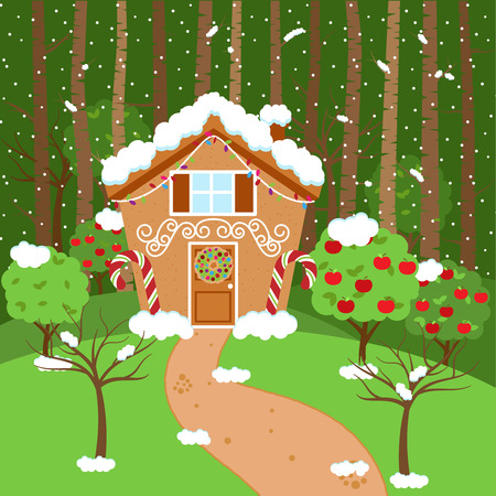 holiday house: Cute Vector Background with Holiday Gingerbread House, Snow and Forest Illustration