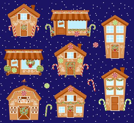 casita de dulces: Conjunto de vectores lindos de pan de jengibre Casas, tiendas y otros edificios con nieve Vectores
