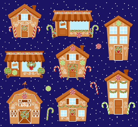 Set of Cute Vector Holiday Gingerbread Houses, Shops and Other Buildings with Snow