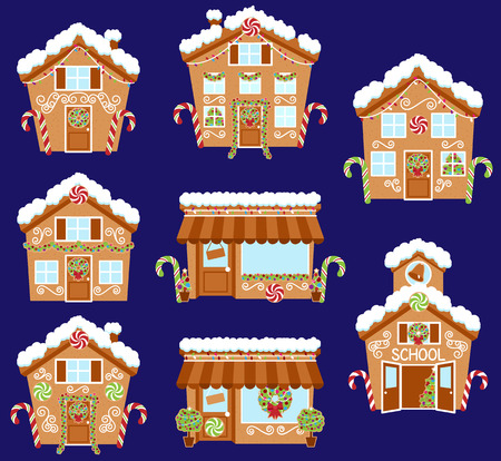 city lights: Set of Cute Vector Holiday Gingerbread Houses, Shops and Other Buildings with Snow