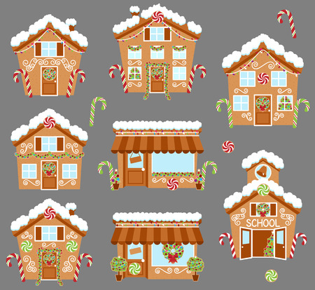 cottage: Set of Cute Vector Holiday Gingerbread Houses, Shops and Other Buildings with Snow