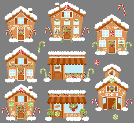 christmas cookie: Set of Cute Vector Holiday Gingerbread Houses, Shops and Other Buildings with Snow