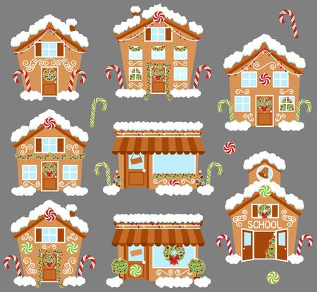 Set van leuke Vector Holiday Gingerbread Houses, winkels en andere gebouwen met Sneeuw