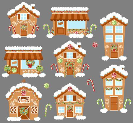 Ensemble de mignon vecteur vacances maisons gingerbread, boutiques et autres bâtiments avec neige Vecteurs