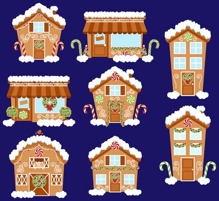 Set von niedlichen Vektor-Feiertags-Lebkuchen-Häuser, Geschäfte und andere Gebäude mit Schnee