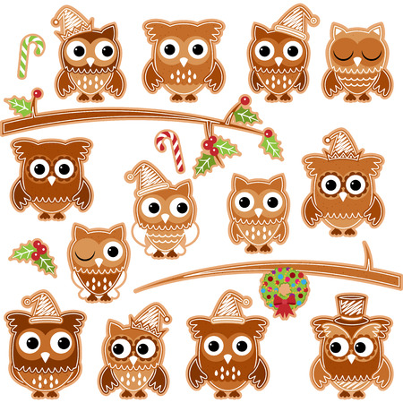 christmas cookie: Christmas Holiday Gingerbread Cookie Owls in Vector Format