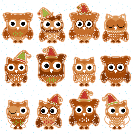 blinking: Christmas Holiday Gingerbread Cookie Owls in Vector Format