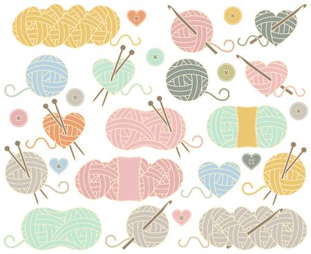 Linda colección de Bolas del hilado, madejas de hilo o hilo para tejer y ganchillo Ilustración de vector