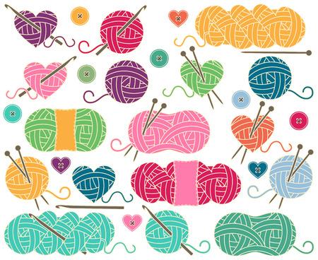 gomitoli di lana: Carino collezione di sfere di filato, matasse di filo o filo per Maglia e Uncinetto