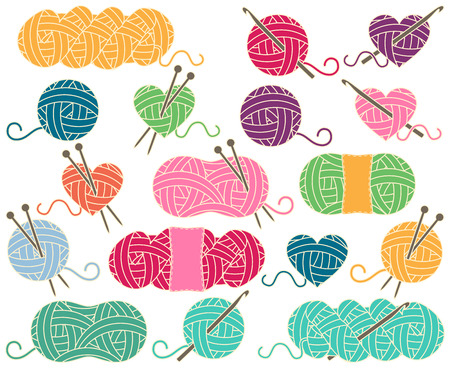 Cute Collection of Balls of Yarn, Skeins of Yarn or Thread for Knitting and Crochet